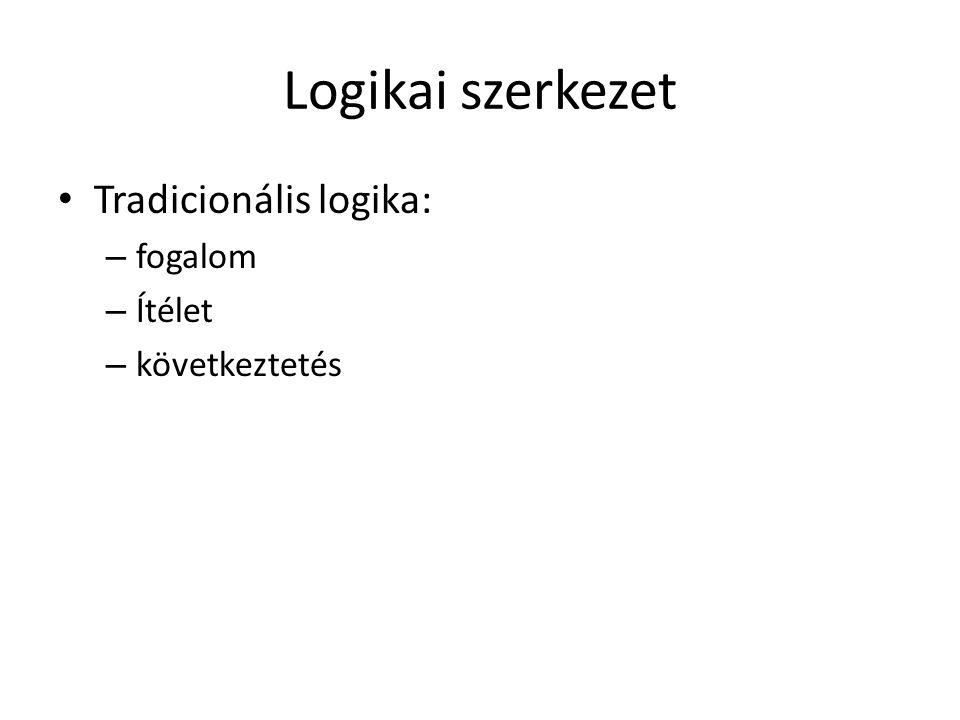 Logikai szerkezet Tradicionális logika: fogalom Ítélet következtetés