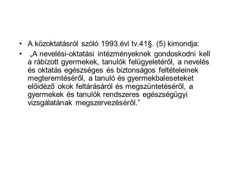 A közoktatásról szóló 1993.évi tv.41§. (5) kimondja: