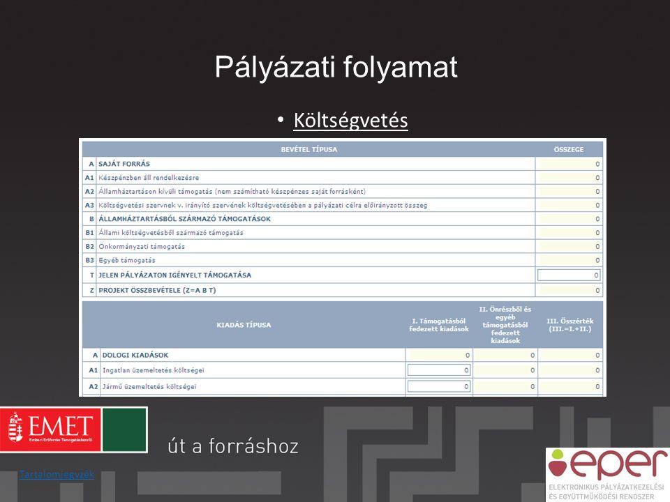 Pályázati folyamat Költségvetés Tartalomjegyzék
