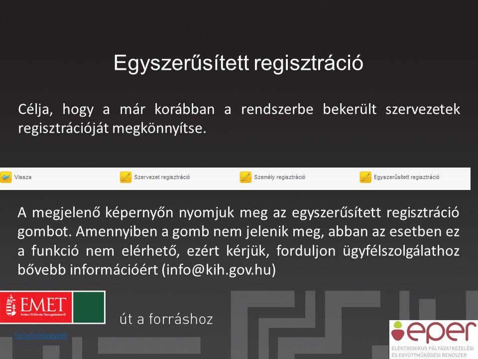Egyszerűsített regisztráció