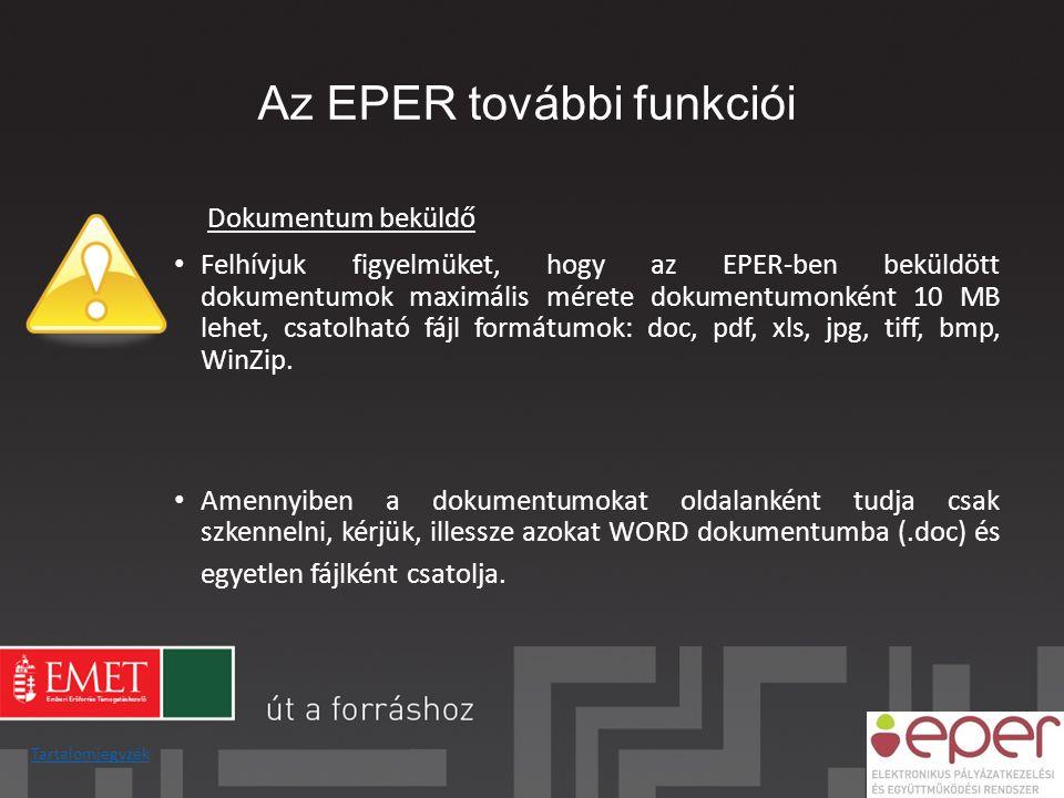Az EPER további funkciói