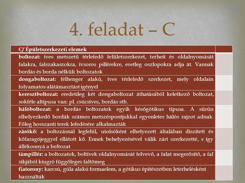 4. feladat – C C/ Épületszerkezeti elemek
