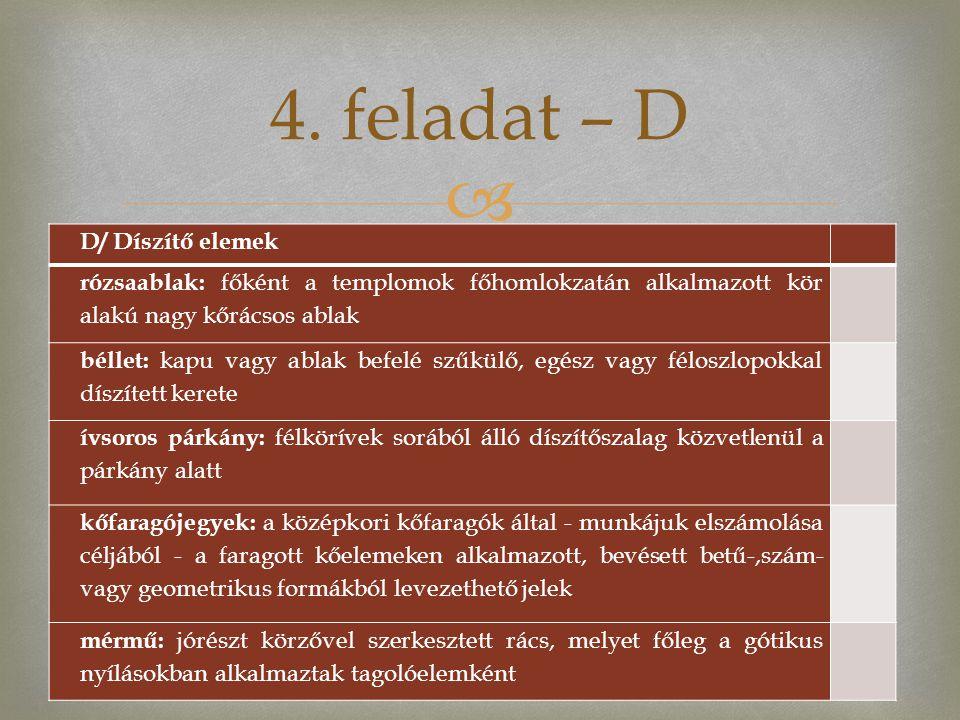 4. feladat – D D/ Díszítő elemek