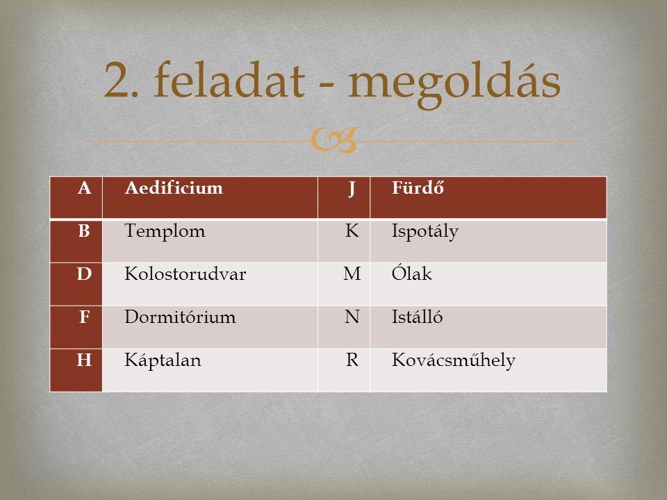 2. feladat - megoldás A Aedificium J Fürdő B Templom K Ispotály D