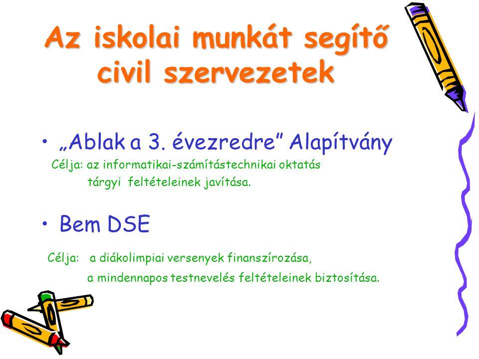 Az iskolai munkát segítő civil szervezetek