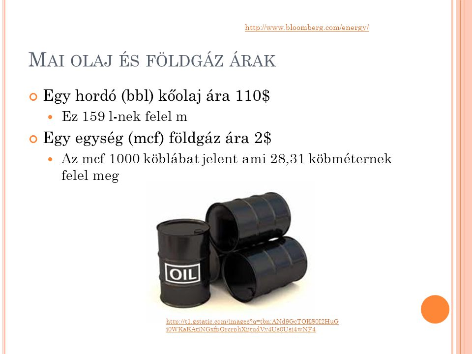Mai olaj és földgáz árak