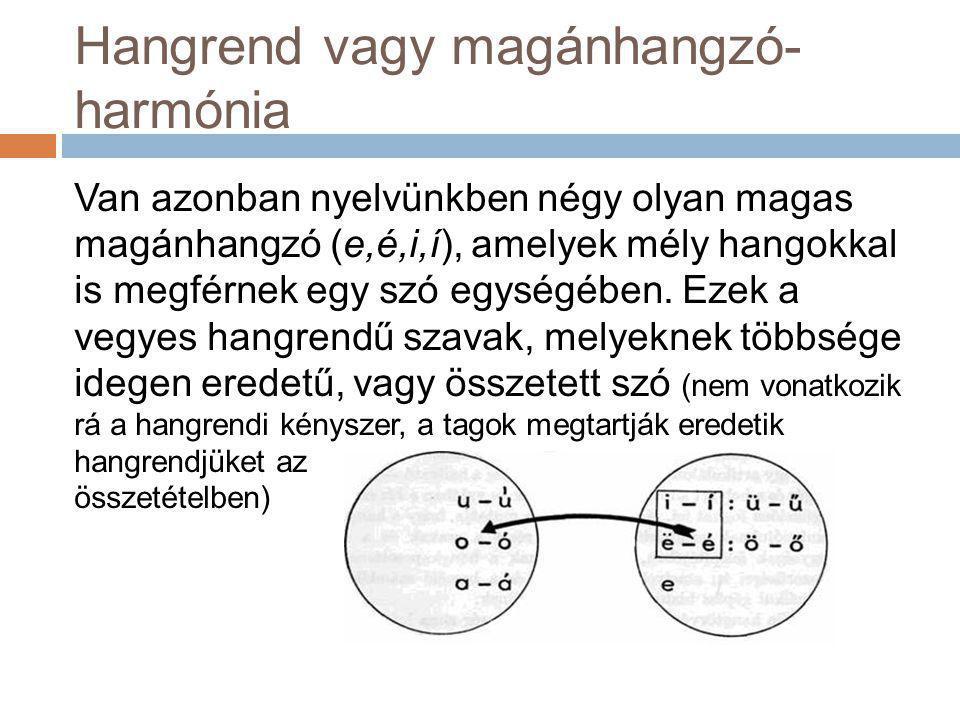Hangrend vagy magánhangzó-harmónia