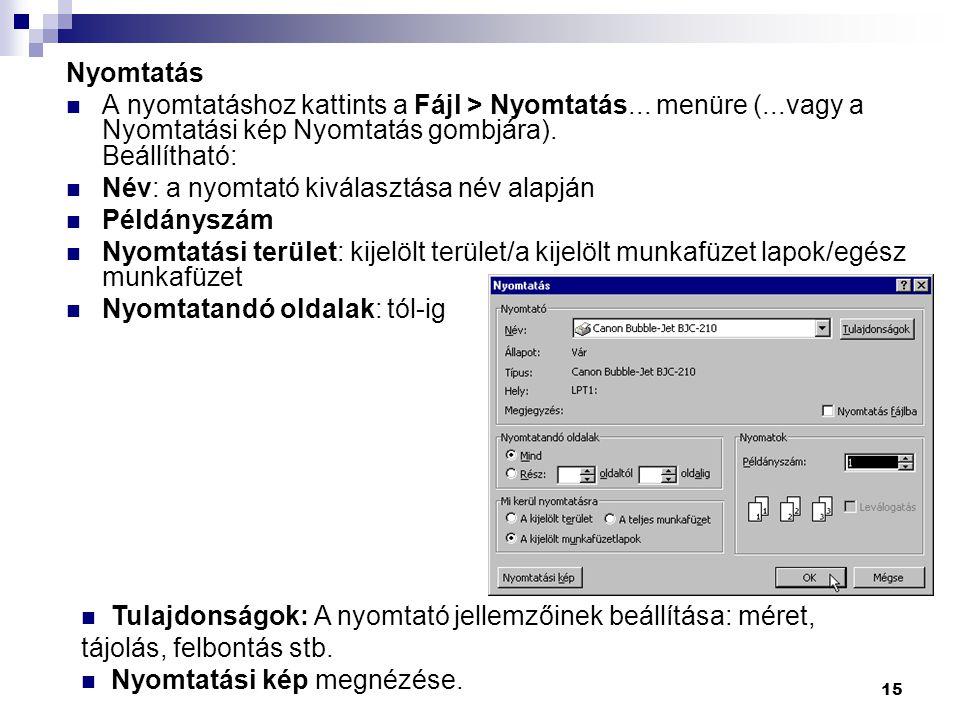 Nyomtatás A nyomtatáshoz kattints a Fájl > Nyomtatás... menüre (...vagy a Nyomtatási kép Nyomtatás gombjára). Beállítható: