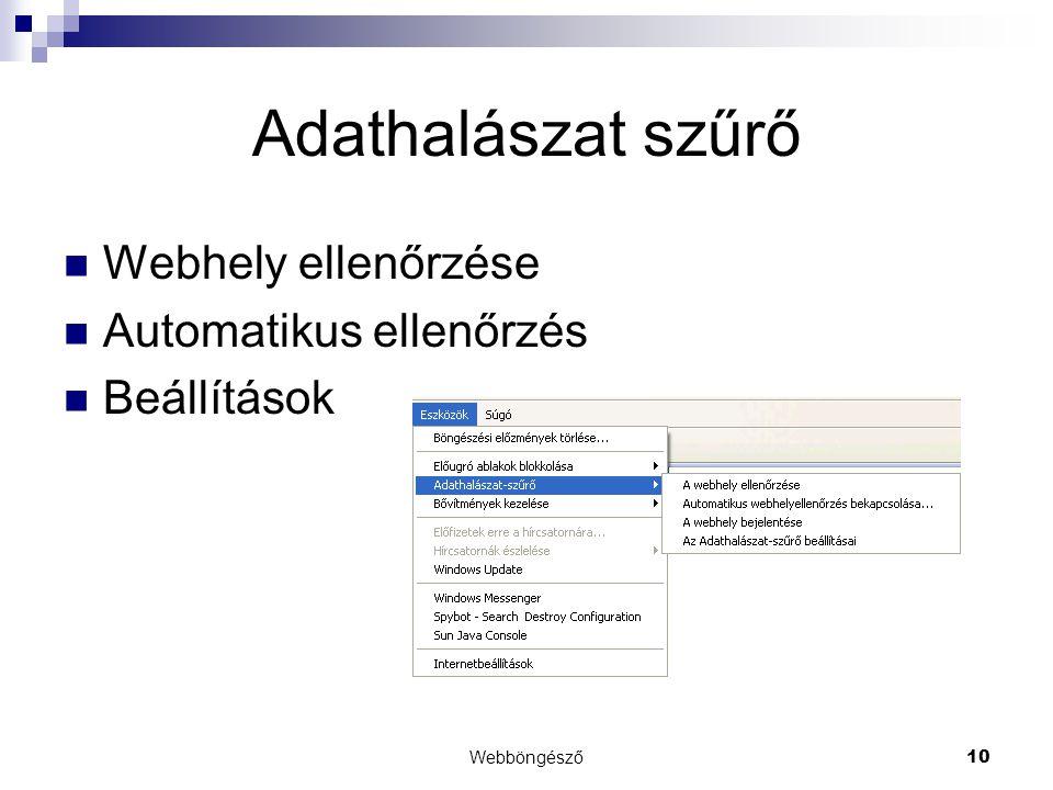 Adathalászat szűrő Webhely ellenőrzése Automatikus ellenőrzés