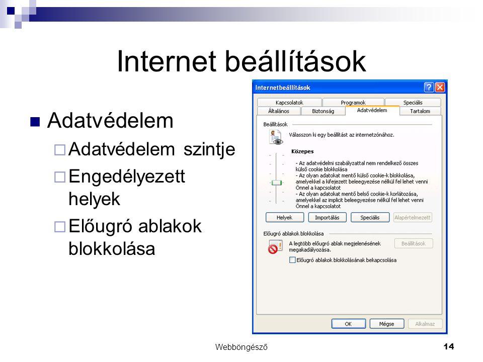 Internet beállítások Adatvédelem Adatvédelem szintje