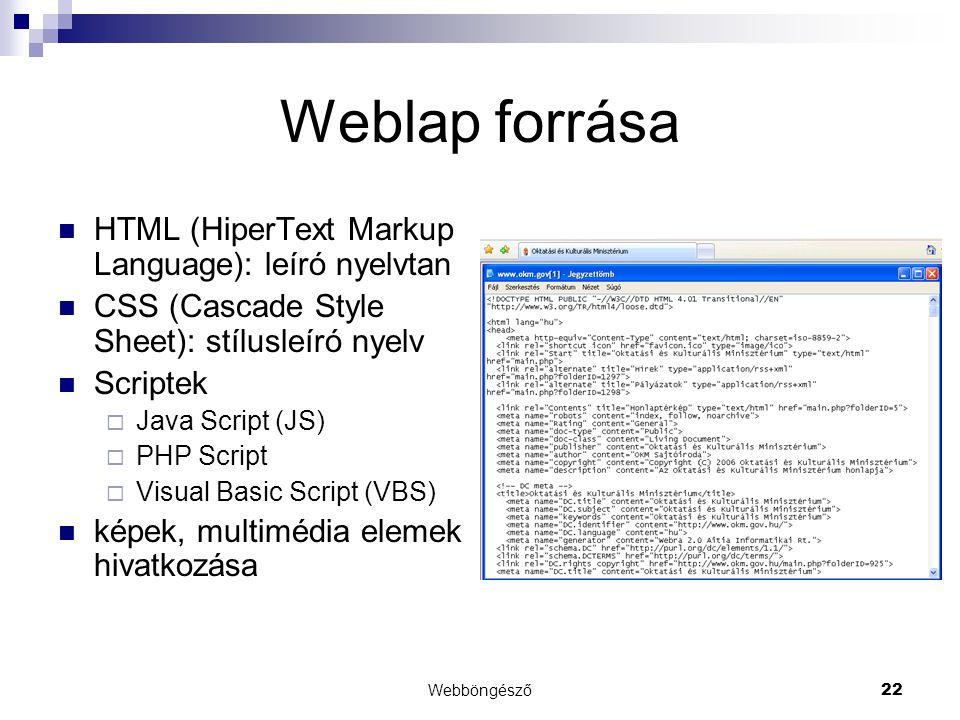Weblap forrása HTML (HiperText Markup Language): leíró nyelvtan