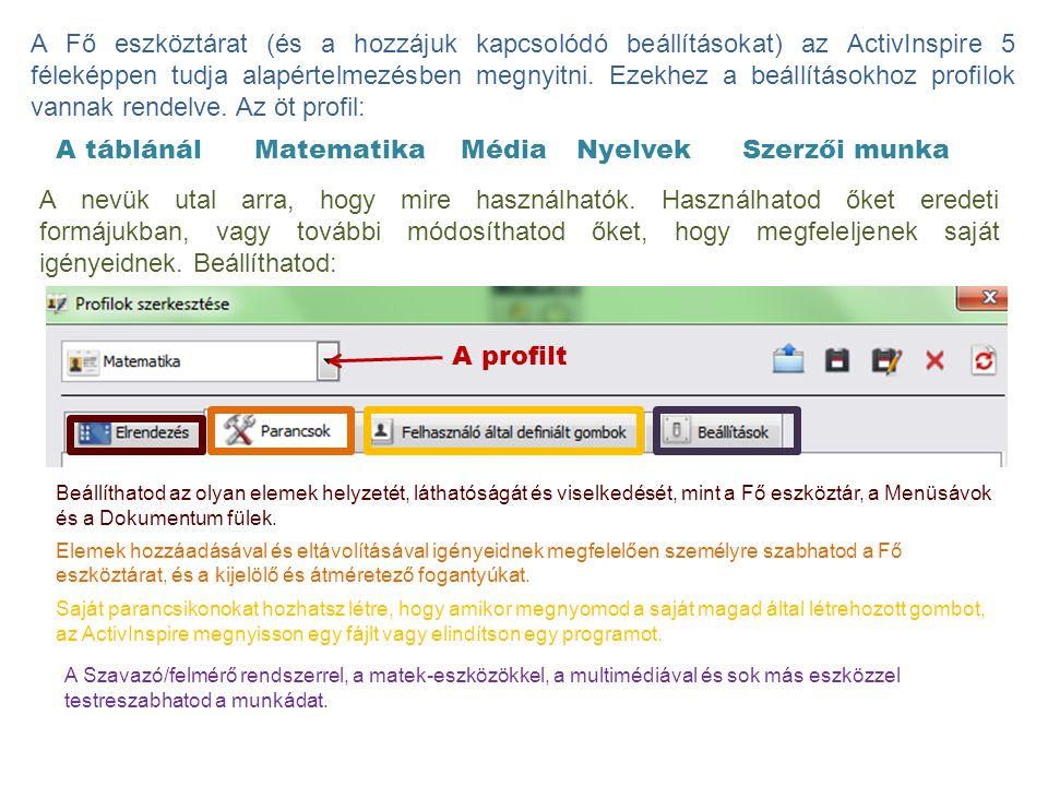A Fő eszköztárat (és a hozzájuk kapcsolódó beállításokat) az ActivInspire 5 féleképpen tudja alapértelmezésben megnyitni. Ezekhez a beállításokhoz profilok vannak rendelve. Az öt profil: