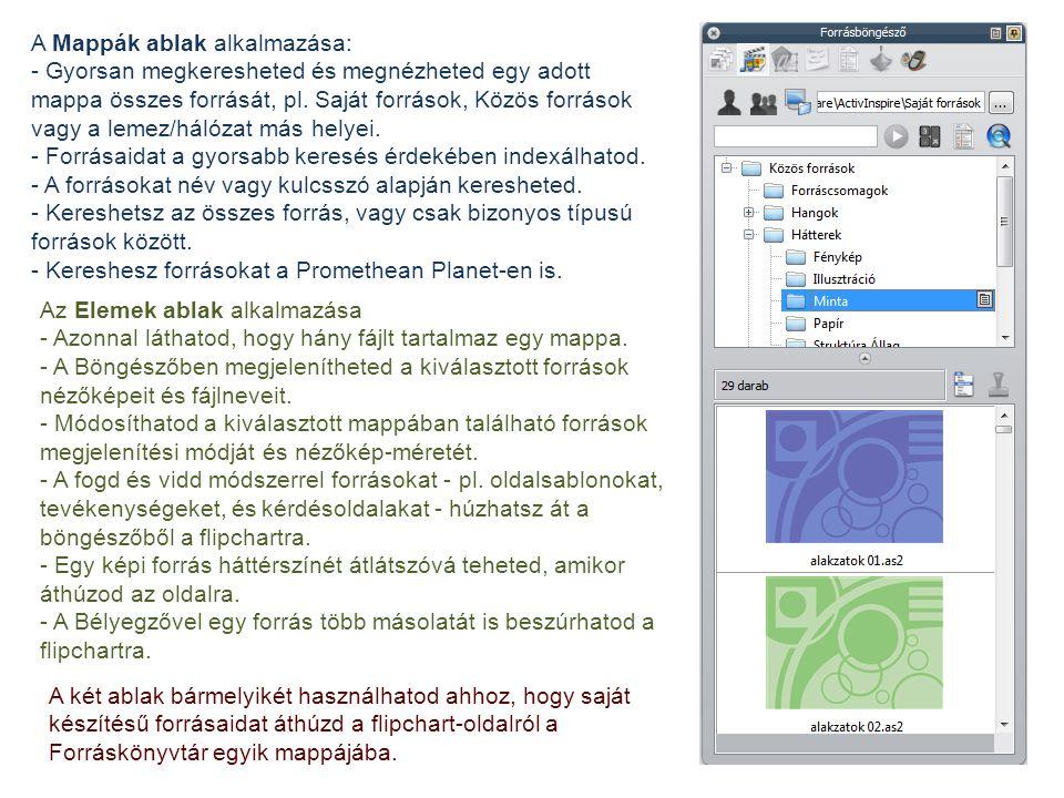 A Mappák ablak alkalmazása: