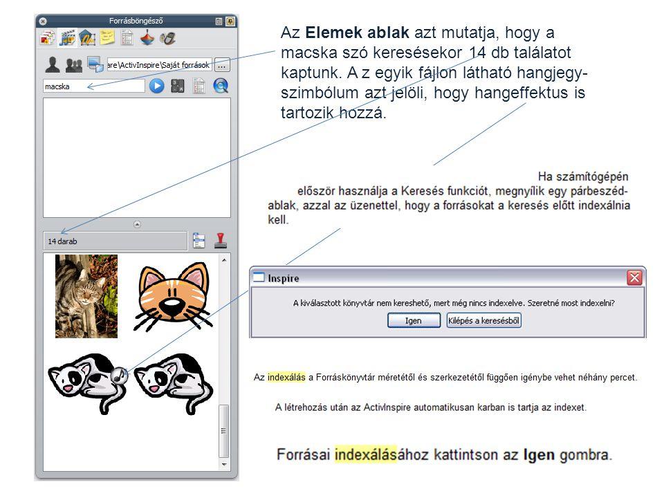 Az Elemek ablak azt mutatja, hogy a macska szó keresésekor 14 db találatot kaptunk.