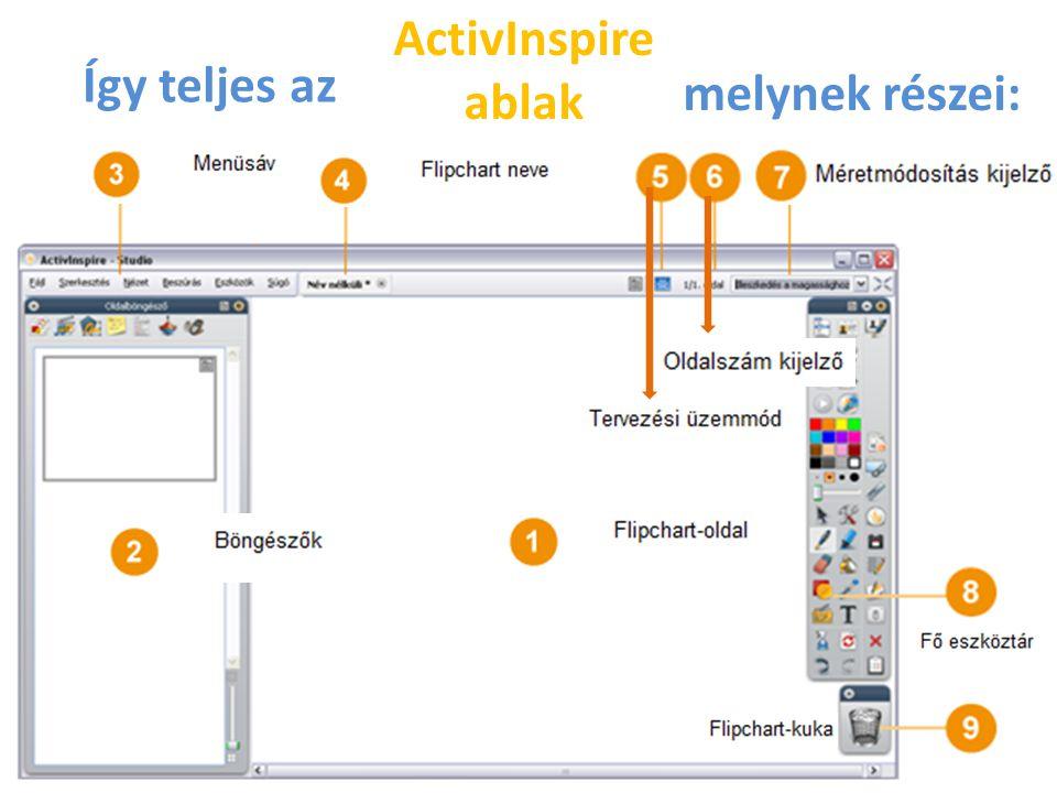ActivInspire ablak Így teljes az melynek részei: