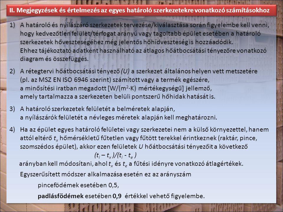 II. Megjegyzések és értelmezés az egyes határoló szerkezetekre vonatkozó számításokhoz