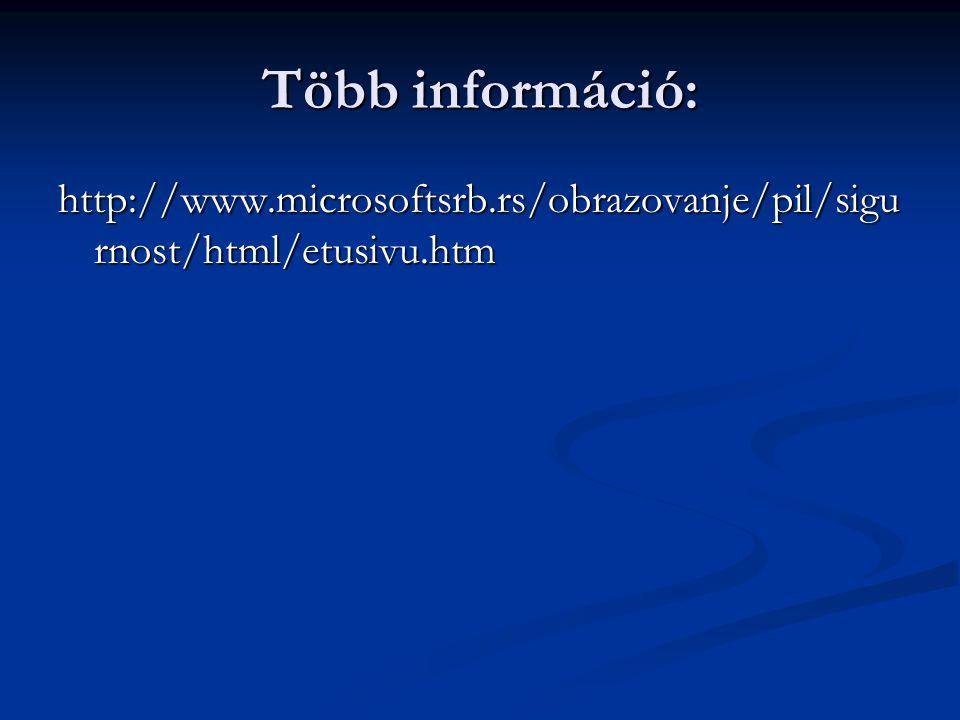 Több információ: http://www.microsoftsrb.rs/obrazovanje/pil/sigurnost/html/etusivu.htm