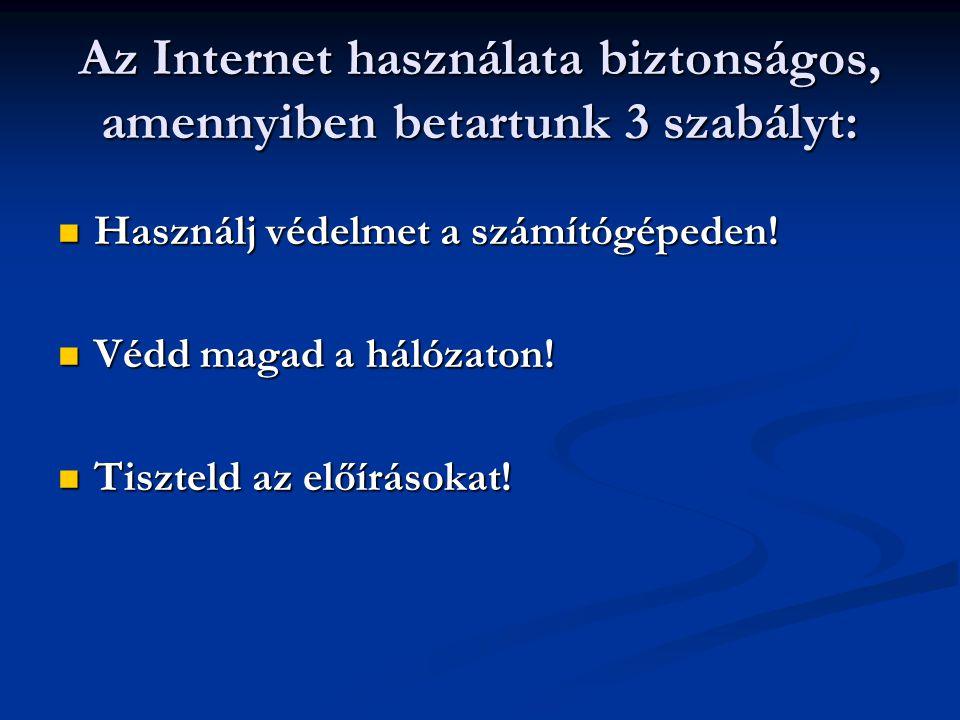 Az Internet használata biztonságos, amennyiben betartunk 3 szabályt: