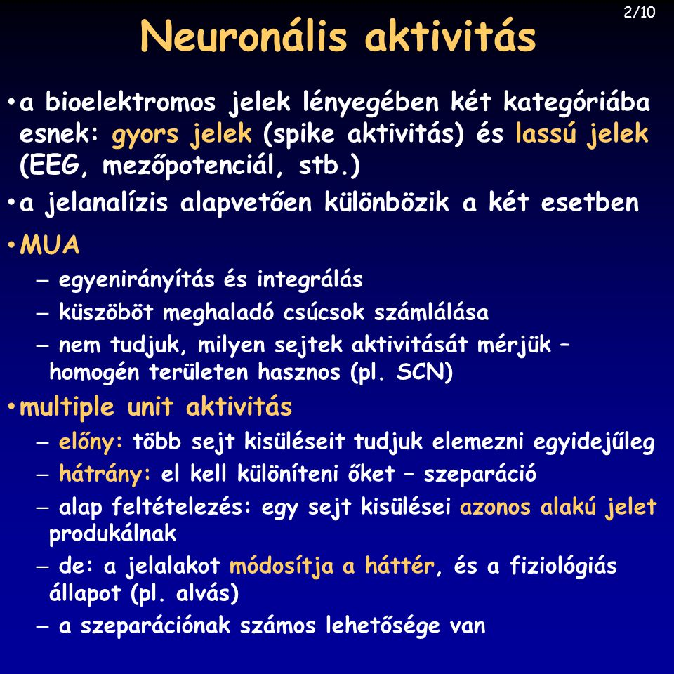 Neuronális aktivitás 2/10.