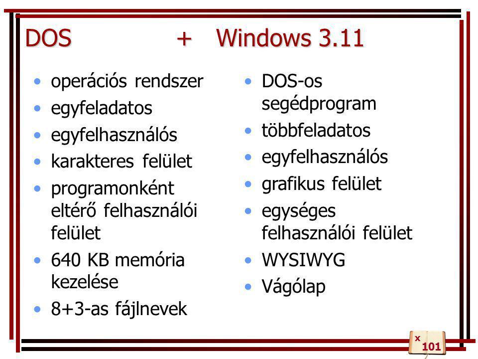 DOS + Windows 3.11 operációs rendszer egyfeladatos egyfelhasználós