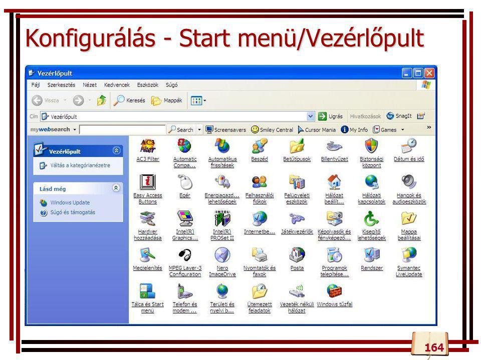 Konfigurálás - Start menü/Vezérlőpult