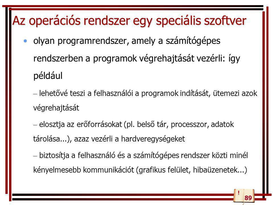 Az operációs rendszer egy speciális szoftver