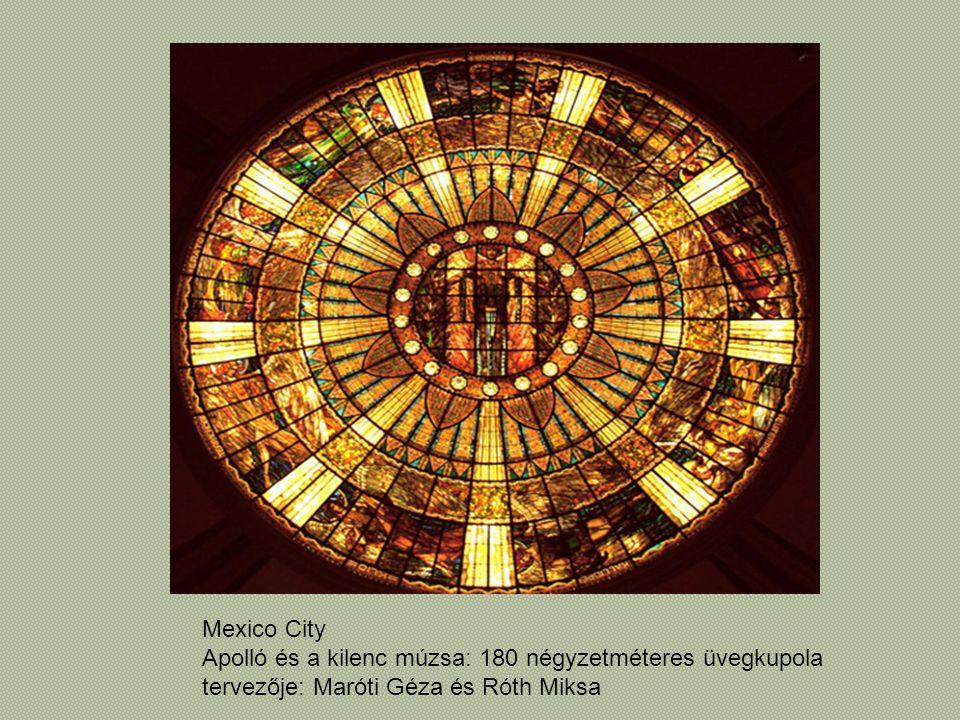Mexico City Apolló és a kilenc múzsa: 180 négyzetméteres üvegkupola.