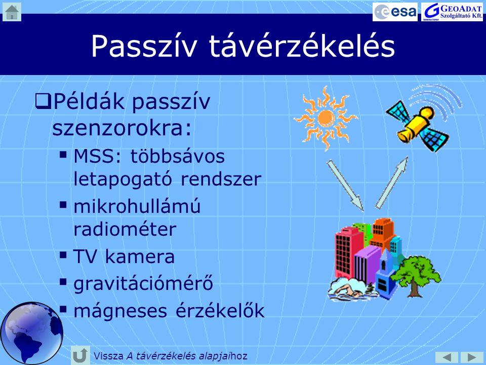 Passzív távérzékelés Példák passzív szenzorokra: