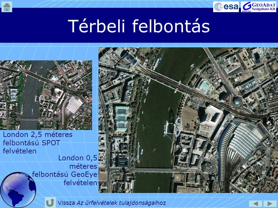 Térbeli felbontás London 2,5 méteres felbontású SPOT felvételen