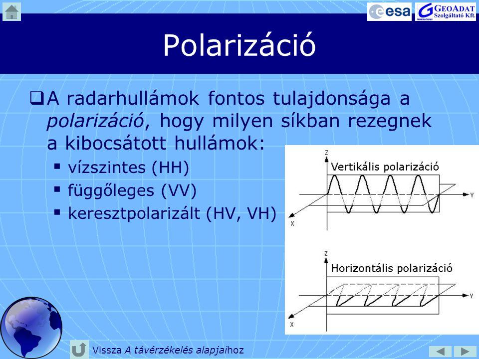 Polarizáció A radarhullámok fontos tulajdonsága a polarizáció, hogy milyen síkban rezegnek a kibocsátott hullámok: