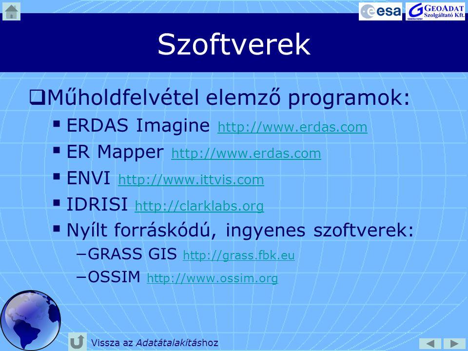 Szoftverek Műholdfelvétel elemző programok: