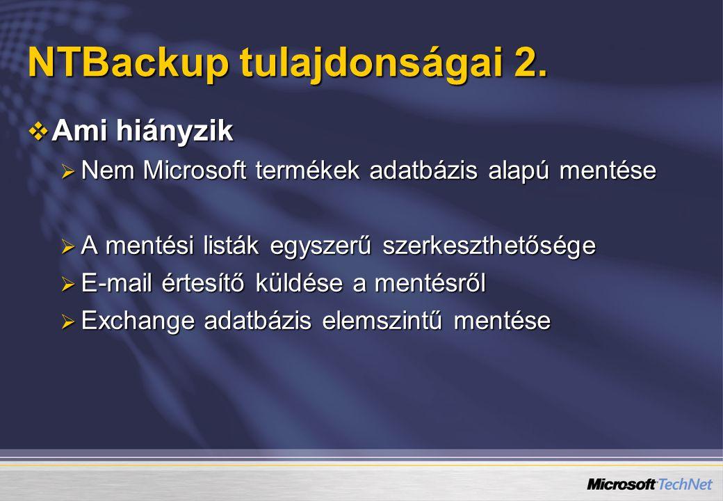 NTBackup tulajdonságai 2.