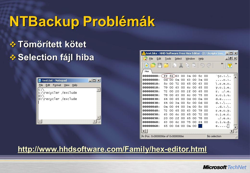 NTBackup Problémák Tömörített kötet Selection fájl hiba