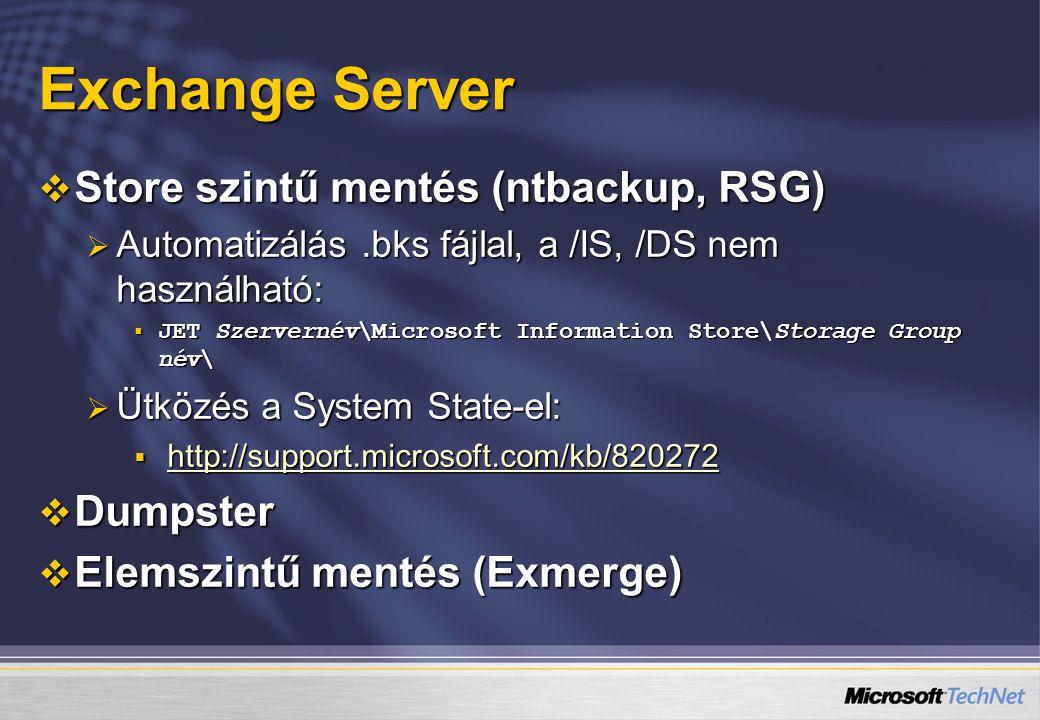 Exchange Server Store szintű mentés (ntbackup, RSG) Dumpster