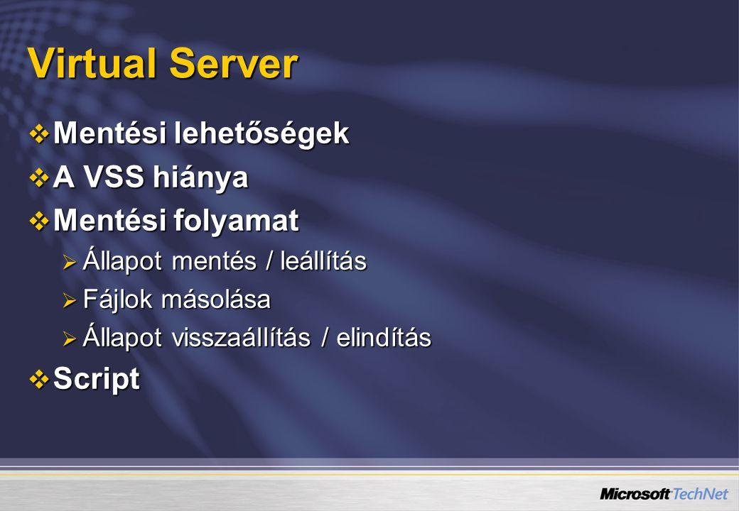 Virtual Server Mentési lehetőségek A VSS hiánya Mentési folyamat