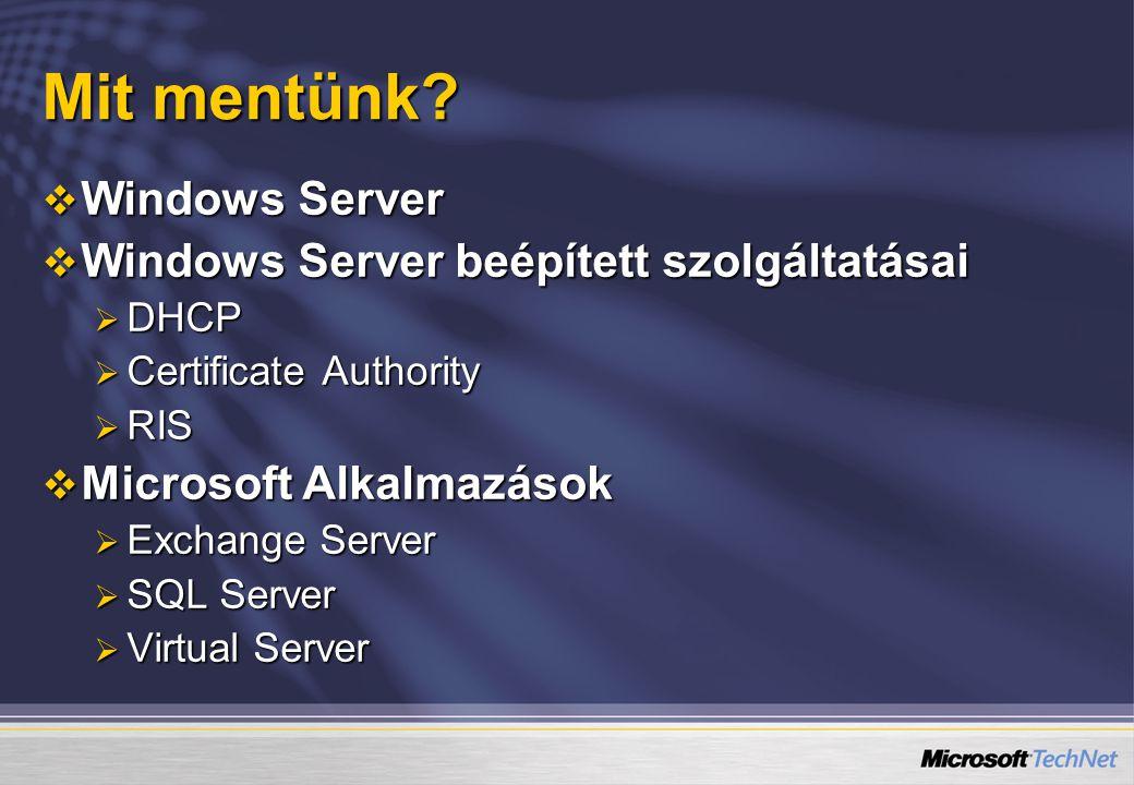 Mit mentünk Windows Server Windows Server beépített szolgáltatásai