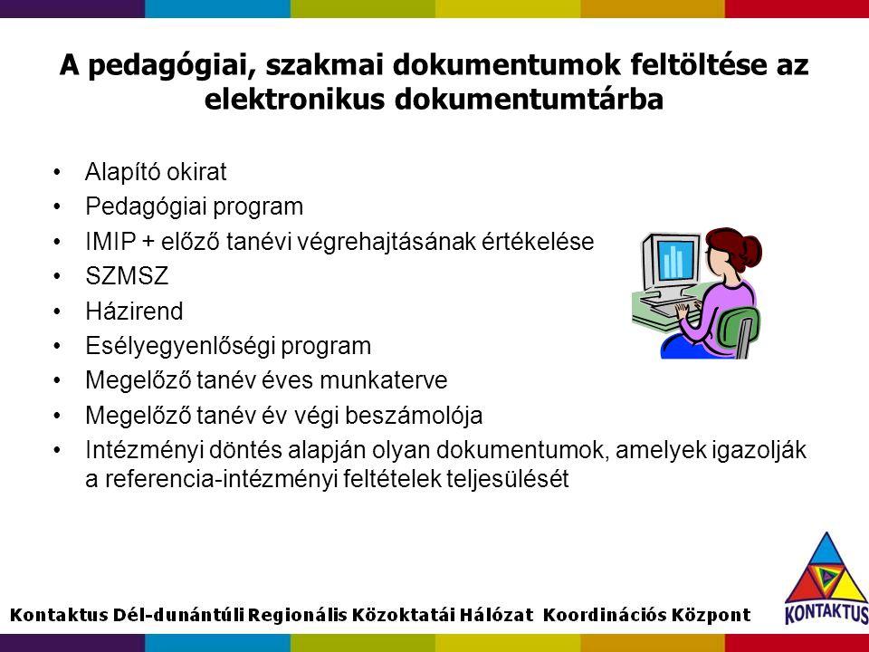 A pedagógiai, szakmai dokumentumok feltöltése az elektronikus dokumentumtárba