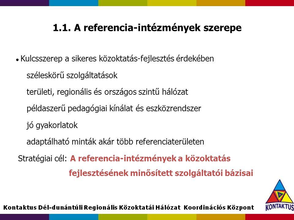 1.1. A referencia-intézmények szerepe