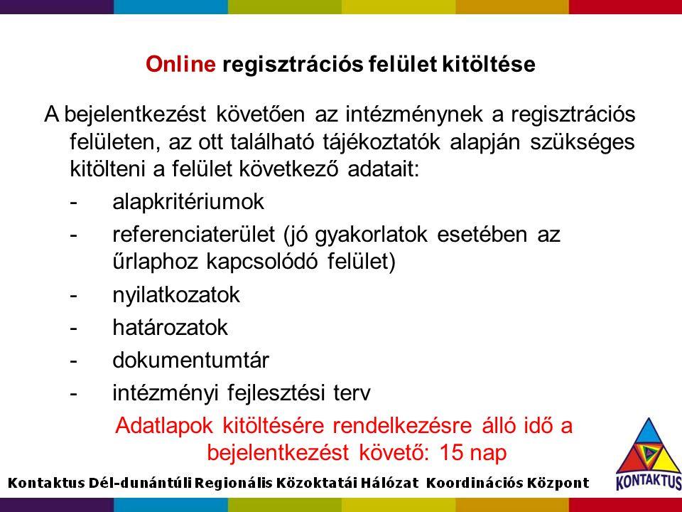 Online regisztrációs felület kitöltése