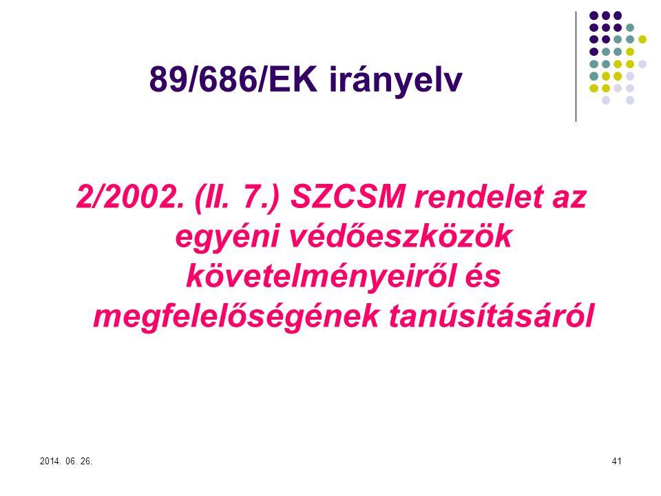 89/686/EK irányelv 2/2002. (II. 7.) SZCSM rendelet az egyéni védőeszközök követelményeiről és megfelelőségének tanúsításáról.