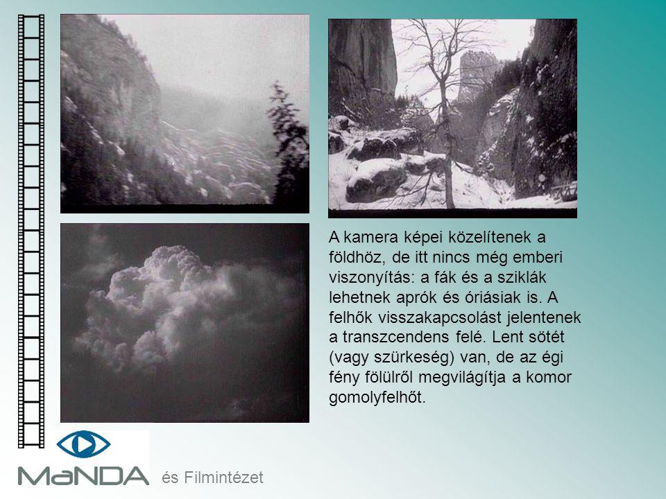A kamera képei közelítenek a földhöz, de itt nincs még emberi viszonyítás: a fák és a sziklák lehetnek aprók és óriásiak is. A