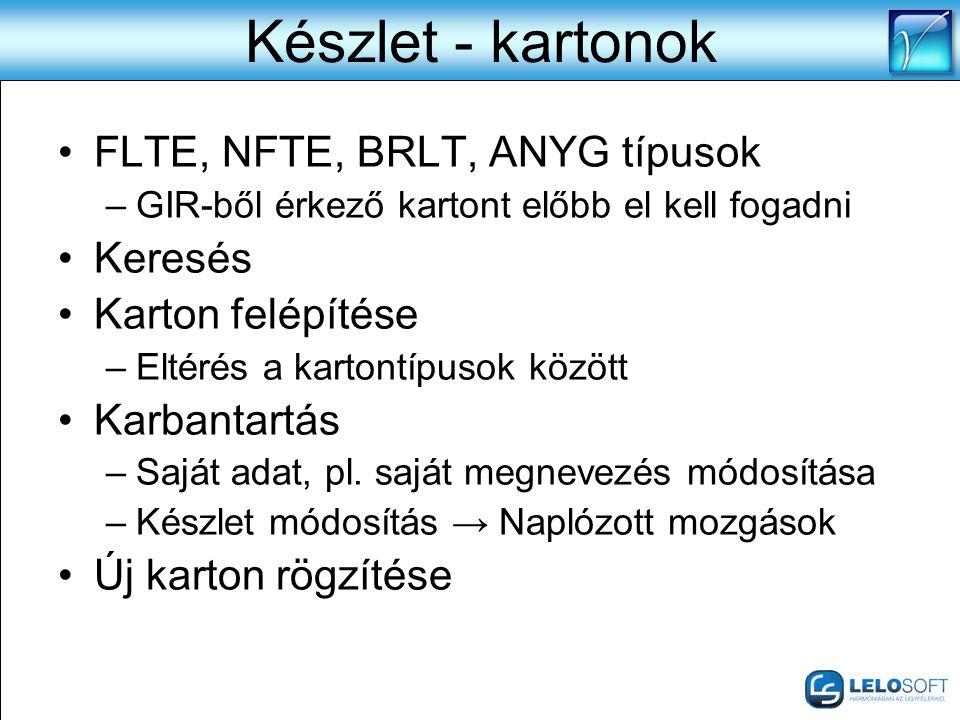 Készlet - kartonok FLTE, NFTE, BRLT, ANYG típusok Keresés