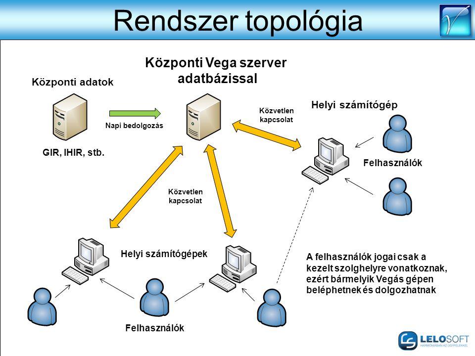 Rendszer topológia Központi Vega szerver adatbázissal Központi adatok