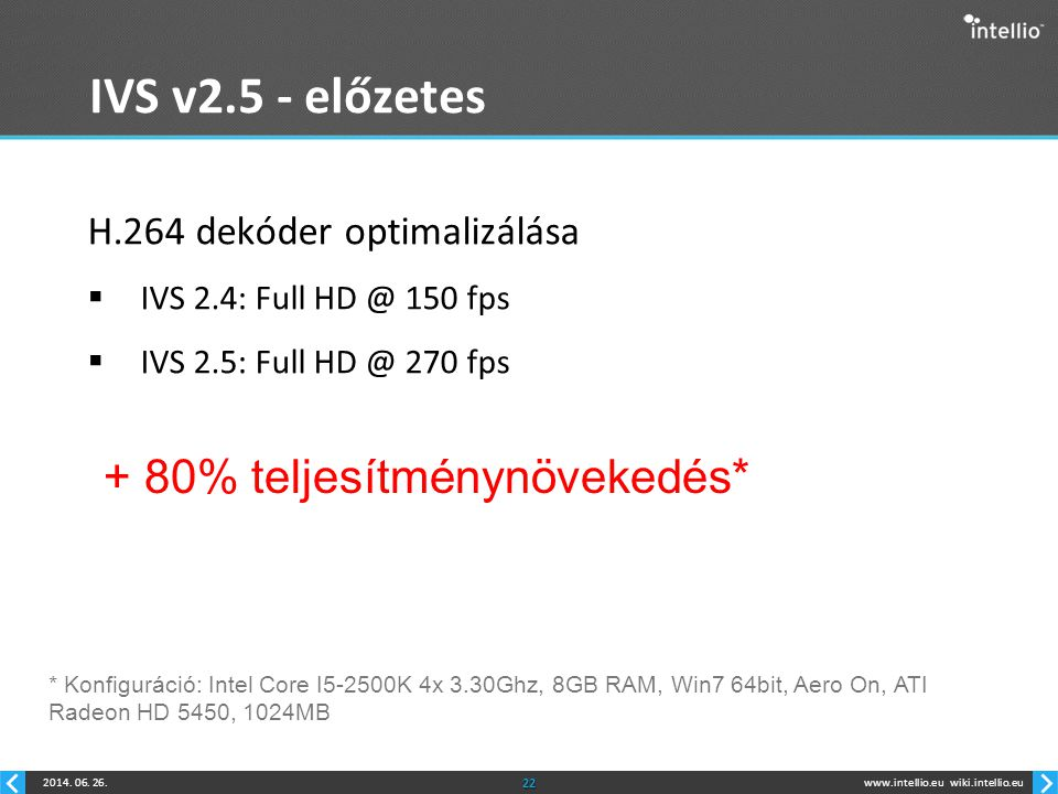 IVS v2.5 - előzetes + 80% teljesítménynövekedés*