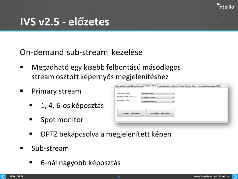 IVS v2.5 - előzetes On-demand sub-stream kezelése