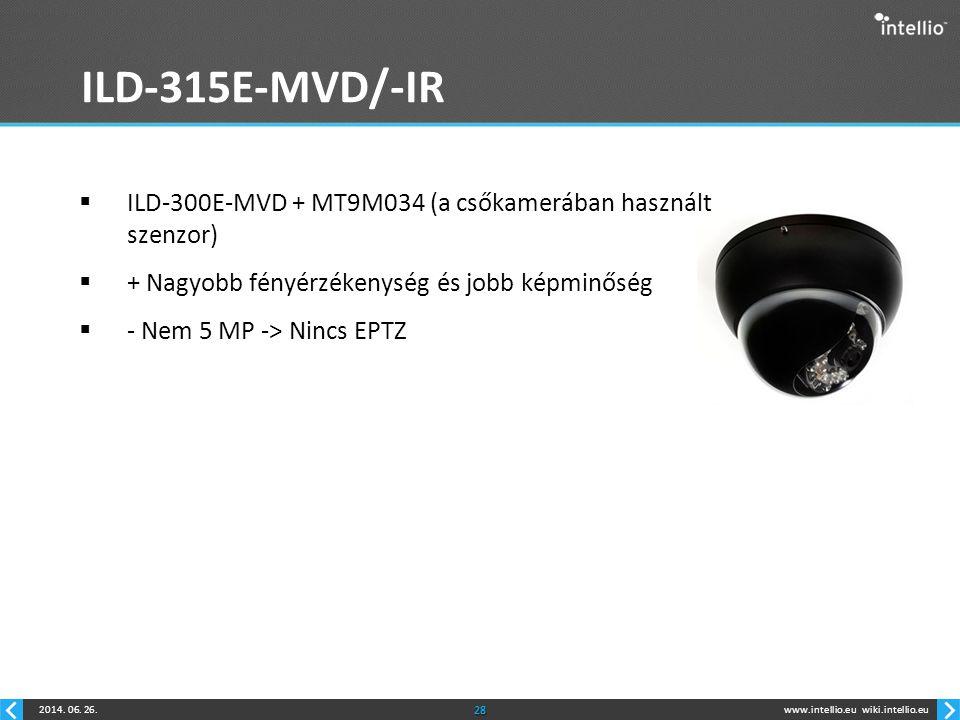 ILD-315E-MVD/-IR ILD-300E-MVD + MT9M034 (a csőkamerában használt szenzor) + Nagyobb fényérzékenység és jobb képminőség.