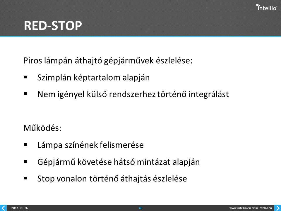 RED-STOP Piros lámpán áthajtó gépjárművek észlelése: