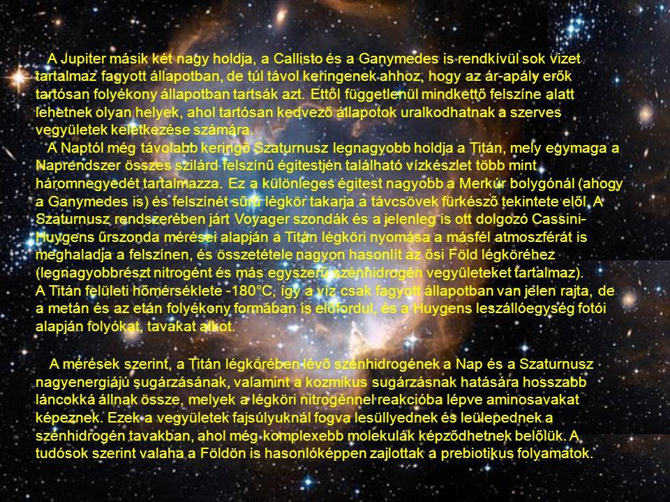 A Jupiter másik két nagy holdja, a Callisto és a Ganymedes is rendkívül sok vizet tartalmaz fagyott állapotban, de túl távol keringenek ahhoz, hogy az ár-apály erők tartósan folyékony állapotban tartsák azt. Ettől függetlenül mindkettő felszíne alatt lehetnek olyan helyek, ahol tartósan kedvező állapotok uralkodhatnak a szerves vegyületek keletkezése számára.
