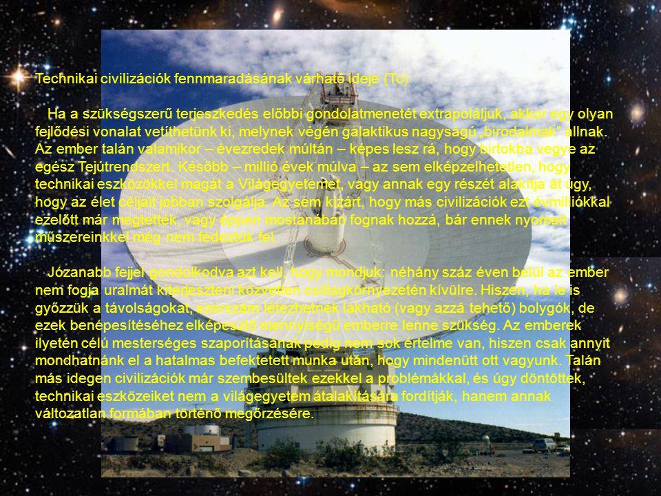Technikai civilizációk fennmaradásának várható ideje (Tc)