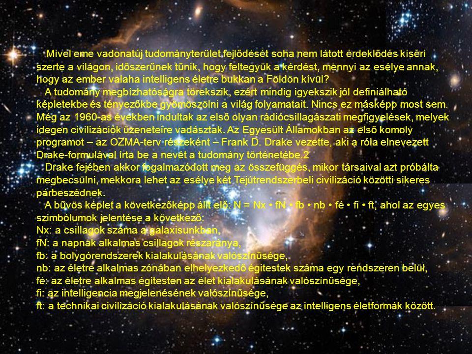 Mivel eme vadonatúj tudományterület fejlődését soha nem látott érdeklődés kíséri szerte a világon, időszerűnek tűnik, hogy feltegyük a kérdést, mennyi az esélye annak, hogy az ember valaha intelligens életre bukkan a Földön kívül